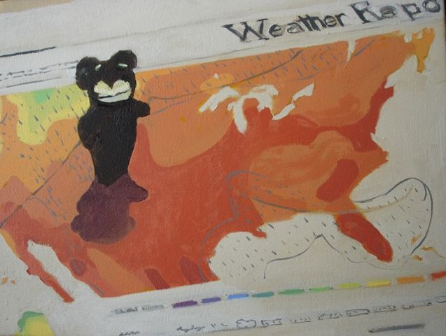 OIl painting of a finger puppet on a weather map
