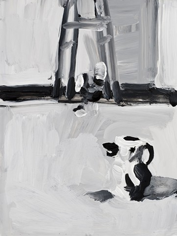 black and white painting of a small duck pitcher