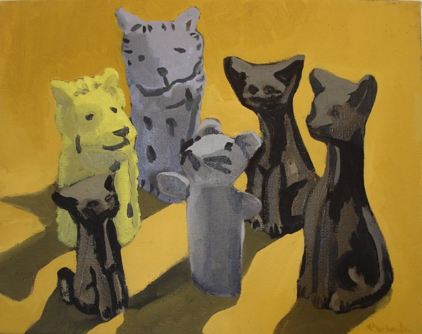 Oil painting of a mouse among cats