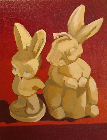 Oil painting of two rabbits