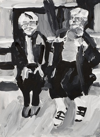 a drawing of two older women on a bench talking with animation