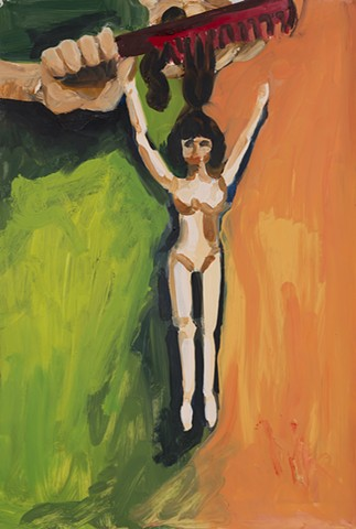 painting, naked Tressy doll with hands and a comb