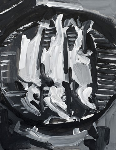 black and white painting of 3 fish on a grill
