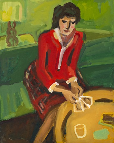 painting, woman in red with a hand of cards after Degas