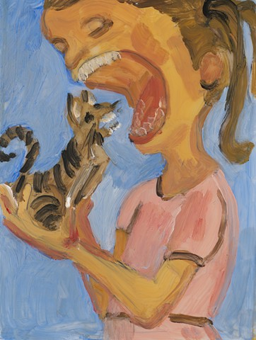 painting of a girl about to eat a cat