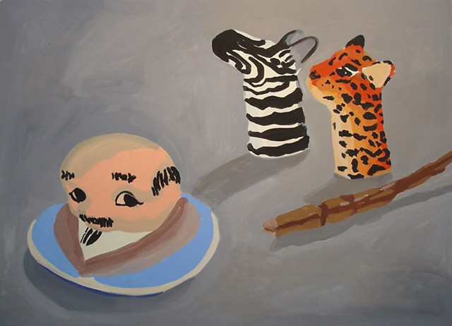 Oil Painting of cooking jar lid and finger puppets