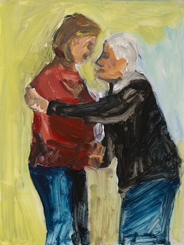 painting of two women greeting each other