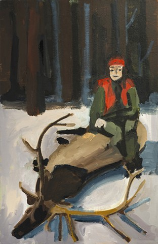 painting, woman hunter sitting on a dead buck