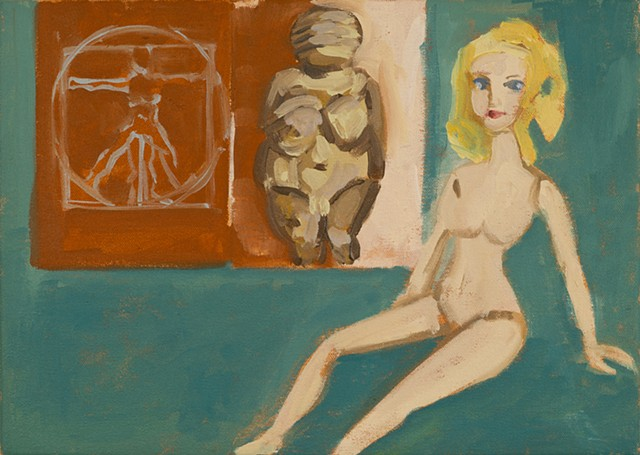 painting, Venus of Willendorf, Vitruvian Woman and a barbie