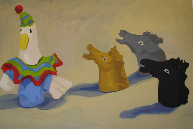 Oil Painting of finger puppets, goose clown and horseheads