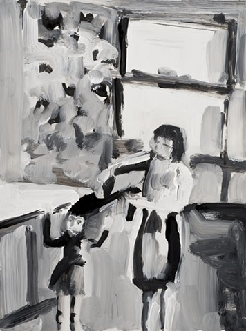 black and white painting of mother brushing her daughter's hair