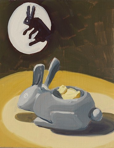 painting of a rabbit statue and a rabbit shadow puppet