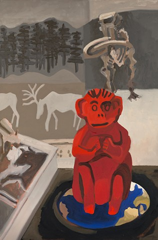 Red monkey sitting on Earth amidst images of mastedon skeleton, elk and bison