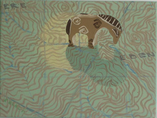 Oil painting of deer on a Vermont topographical map
