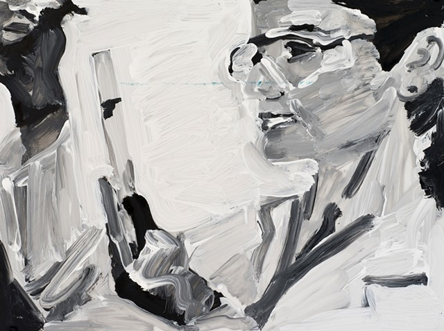 black and white painting of a woman with a test tube
