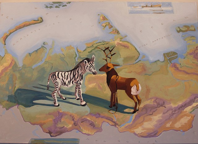 still life, map of Russia with zebra and reindeer