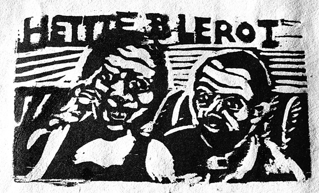 Hettie and Leroi Jones, woodcut, Cedar Tavern