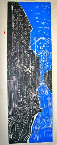 woodcut brooklyn cityscape