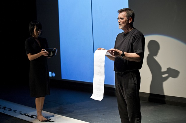 """Kimvi Nguyen and Stephen Boyce performing their collaboration """"The Ink Line"""" at Yard and Metre"""