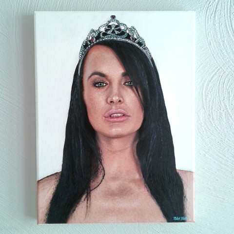 Alektra Blue, photorealism, painting, queen, materialism