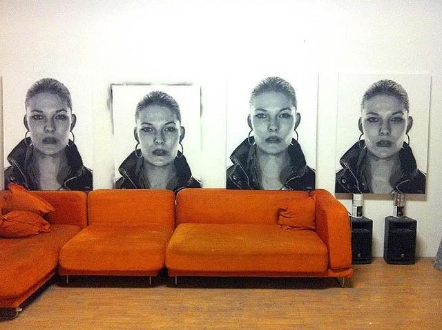 photorealism, hyperrealism, painting, hip, sexy, contemporary art, Nick Flatt, consume, spray paint, ten layer stencil