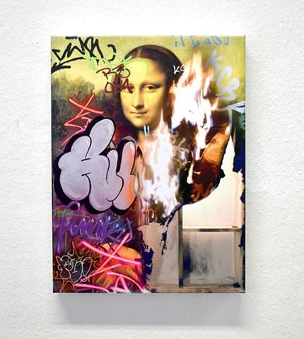 photorealism, fire, painting, mona lisa, graffiti