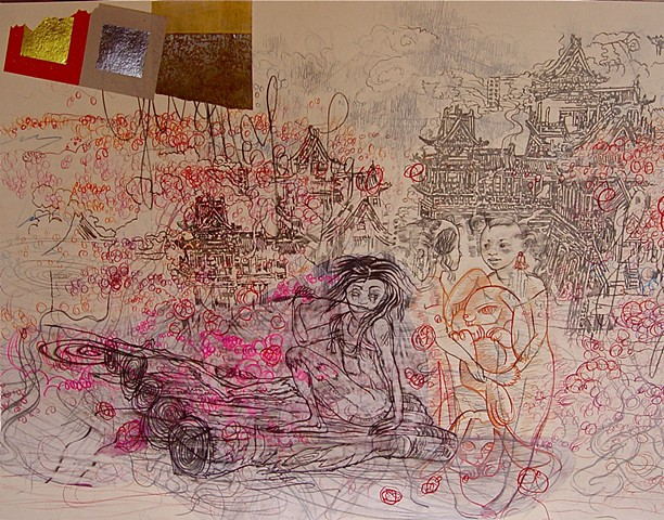 mixed media drawing by Julie McNiel