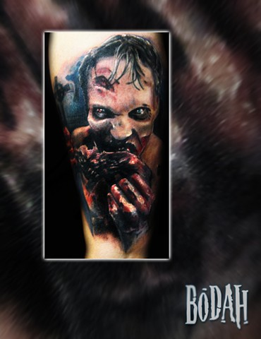 Best Tattoo Toledo Ohio, Ohio's Best Tattoo Artist, Toledo's Best Tattoo Artist, Toledo Ohio Tattoo, Amazing Tattoos, Amazing Tattoo, Best Realism Artist Bodah, Bodah Toledo Ohio Best Tattoo, Zombie tattoo, z tattoo, walking dead tattoo, undead tattoo, zo