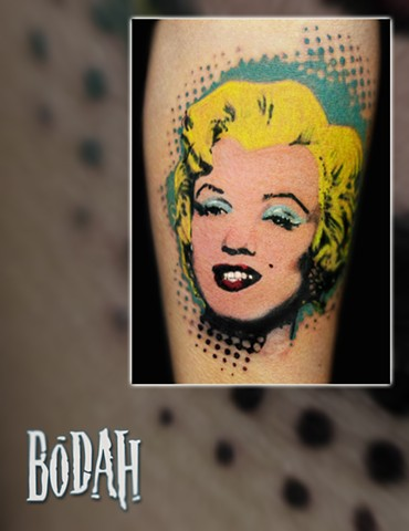 Best Tattoo Toledo Ohio, Ohio's Best Tattoo Artist, Toledo's Best Tattoo Artist, Toledo Ohio Tattoo, Amazing Tattoos, Amazing Tattoo, Best Realism Artist Bodah, Bodah Toledo Ohio Best Tattoo, marilyn monroe tattoo, andy warhol tattoo, pop art tattoo, pop