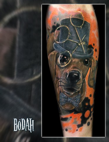 Best Tattoo Toledo Ohio, Ohio's Best Tattoo Artist, Toledo's Best Tattoo Artist, Toledo Ohio Tattoo, Amazing Tattoos, Amazing Tattoo, Best Realism Artist Bodah, Bodah Toledo Ohio Best Tattoo, steampunk dachshund tattoo, wiener dog top hat tattoo, monacle,