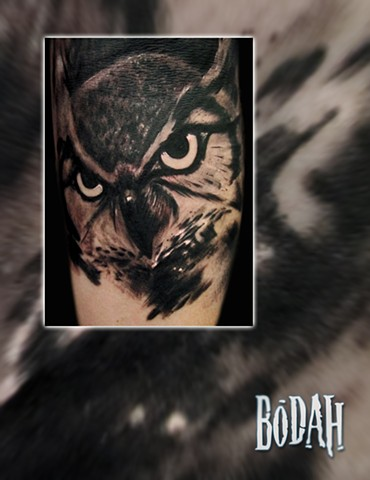 Best Tattoo Toledo Ohio, Ohio's Best Tattoo Artist, Toledo's Best Tattoo Artist, Toledo Ohio Tattoo, Amazing Tattoos, Amazing Tattoo, Best Realism Artist Bodah, Bodah Toledo Ohio Best Tattoo, Owl tattoo, owl portrait, owl eye of horus, black and grey real