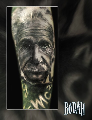 Best Tattoo Toledo Ohio, Ohio's Best Tattoo Artist, Toledo's Best Tattoo Artist, Toledo Ohio Tattoo, Amazing Tattoos, Amazing Tattoo, Best Realism Artist Bodah, Bodah Toledo Ohio Best Tattoo, albert einstein tattoo, einstein portrait, black and grey reali