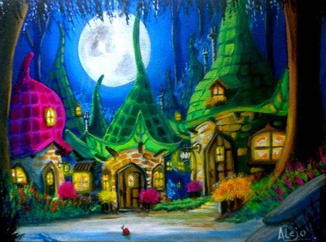 faerieTown,fantasy,house,forest