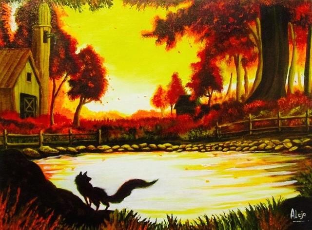 Fox, Lake, fall, autumn, red, yellow, Orange, colorful, beautiful, bright, bold