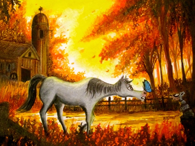 fall,Horse,autumn,barn,red,trees, children, illustration,colorful,bright,colors,beautiful