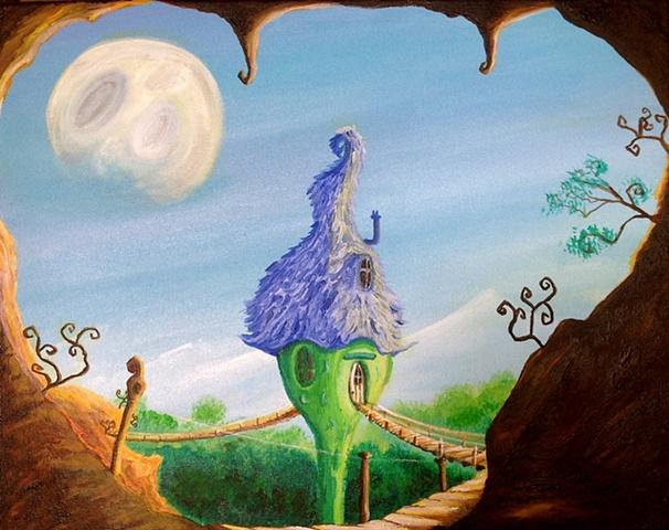Gobling,bridge,children,Illustration,sunny,green,blue