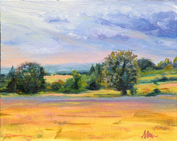 oil painting of upstate New York of foothills of Adirondacks when soy fields were ripe