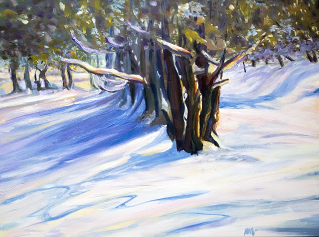 oil painting cedars snow backyard upstate ny adirondacks