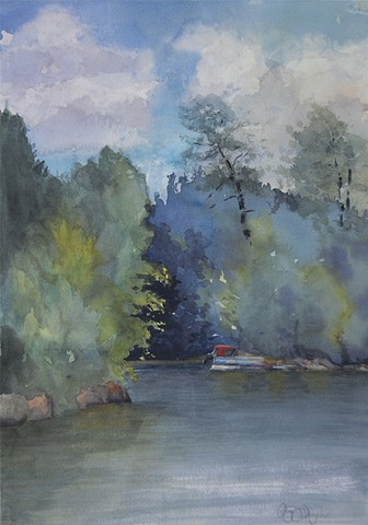 Plein Air watercolor painting from and Adirondack great camp in Inlet -- the Albedor