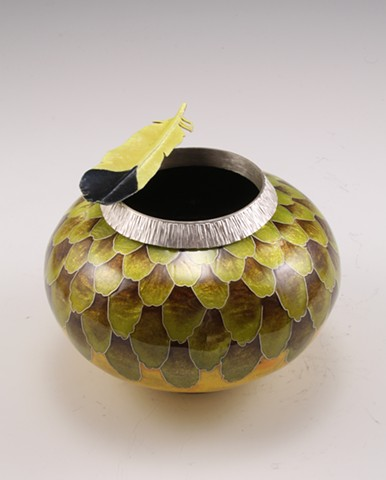 Goldfinch Vessel 3 with Goldfinch Feather Brooch