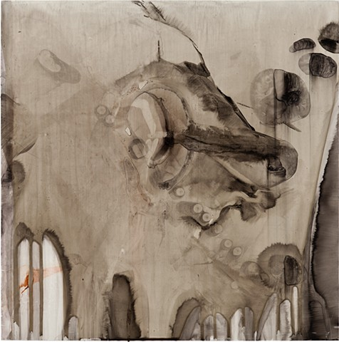 Sumi Ink, Colored Ink, Oil Stick, Wood Glue on White Polypropylene, mounted on Wood Board