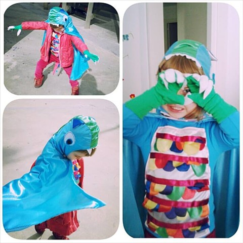 The Little Colorful Girl Dragon's costume