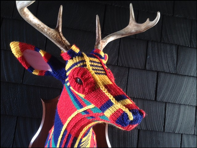 sweater faux deer stag antler taxidermy 80's primary colors plaid