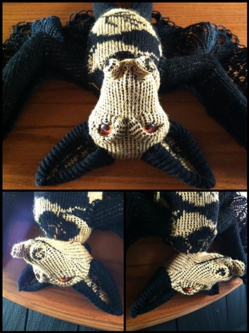 sweaty Bat Flying Fox Faux Taxidermy Sweater Gold Claws Lace Doily