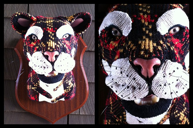 Photograph of Sweaty Tiger Faux Taxidermy Vintage 80's sweater