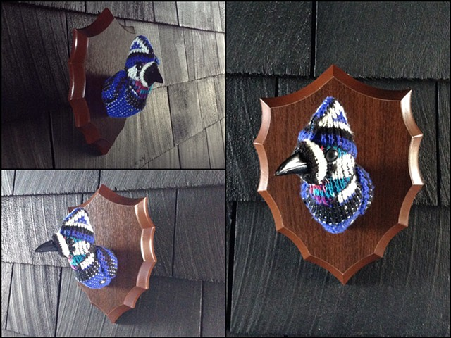 sweaty faux taxidermy corvid blue jay cosby 80's ugly sweater