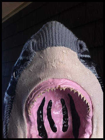 Photograph of Sweaty Great White Shark Jaws Faux Taxidermy Cosby 80's Sweater