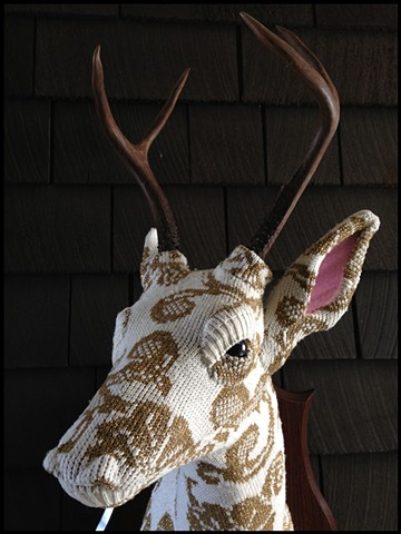 photograph of Sweaty Deer Faux Taxidermy 80s gold sweater