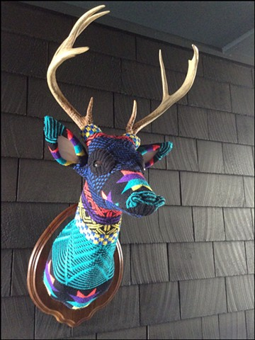 sweater faux deer stag antler taxidermy 80's geometric graphic star lisa frank sweaty