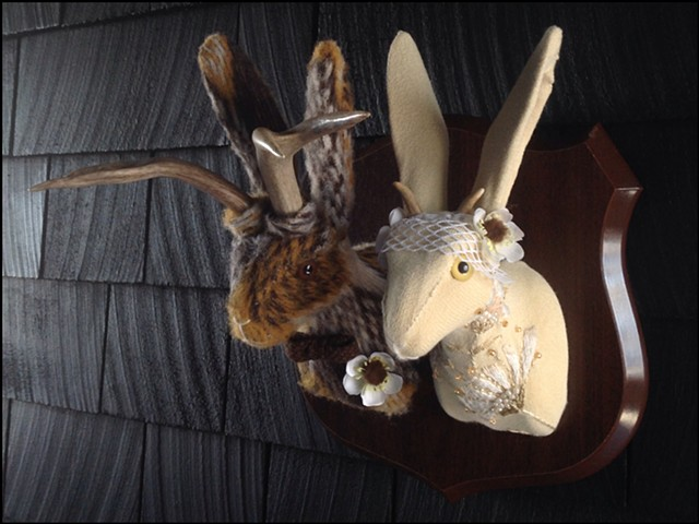 Sweaty Jackalope Faux Sweater Taxidermy wedding bride groom millinery flowers elope